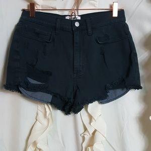 PINK Victoria's Secret black high rise jean shorts